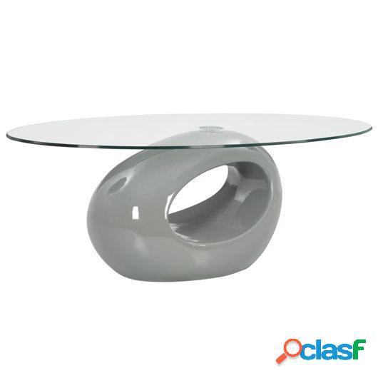 Mesa de centro superficie ovalada de vidrio gris brillante