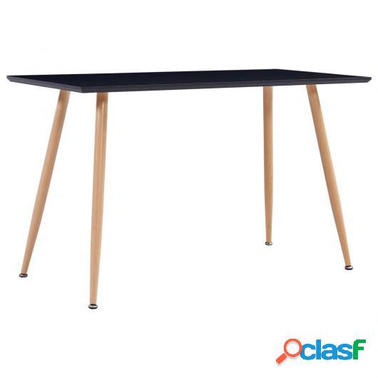 Mesa de comedor MDF negro y color roble 120x60x74 cm
