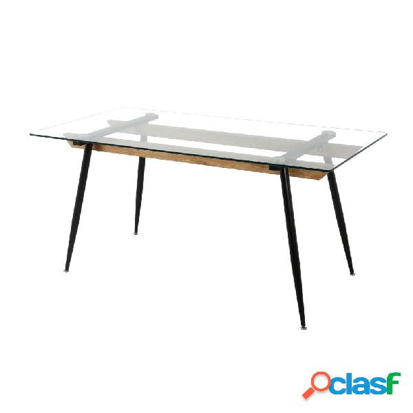 Mesa de comedor con tablero de cristal 160x80cm