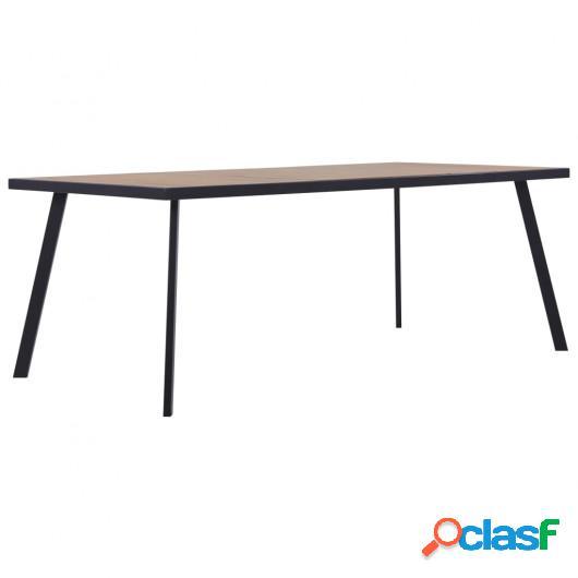 Mesa de comedor de MDF color madera clara y negro 180x90x75
