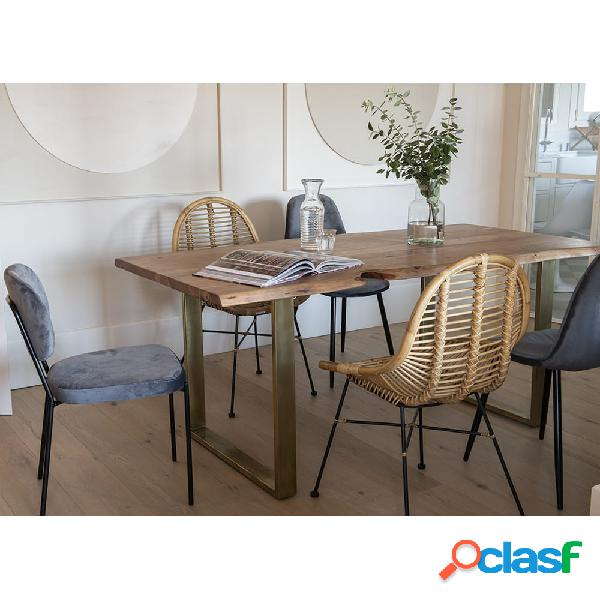 Mesa de comedor de madera de acacia Gold 180x90cm