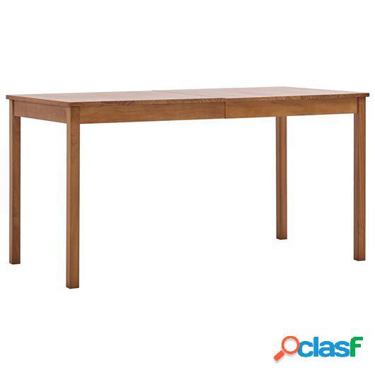 Mesa de comedor de madera de pino marrón miel 140x70x73 cm