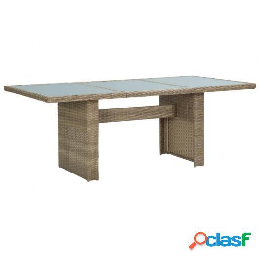 Mesa de comedor jardín vidrio y ratán PE marrón