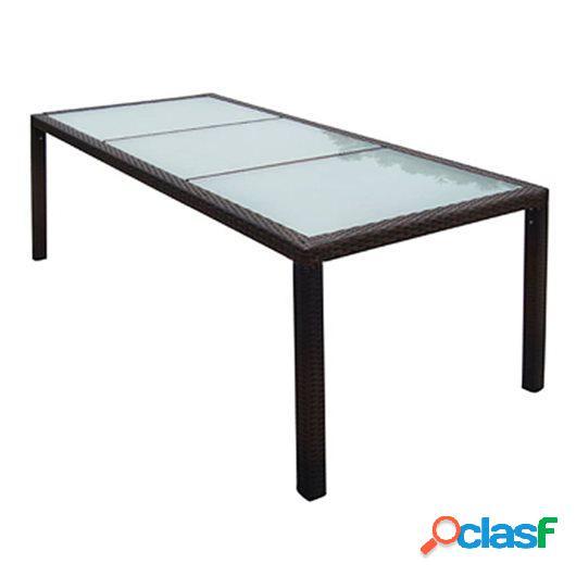 Mesa de comedor para jardín ratán sintético 190x90x75 cm