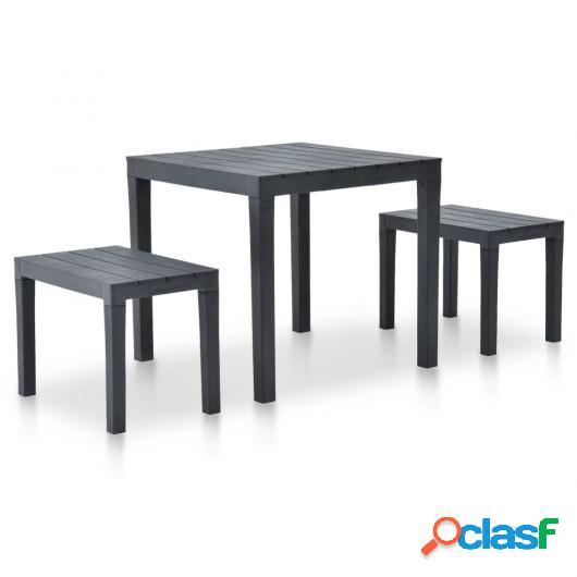 Mesa de jardín con 2 bancos plástico gris antracita