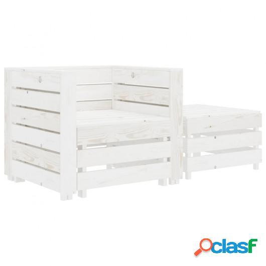 Mesa y silla de palés para jardín 2 piezas madera blanca