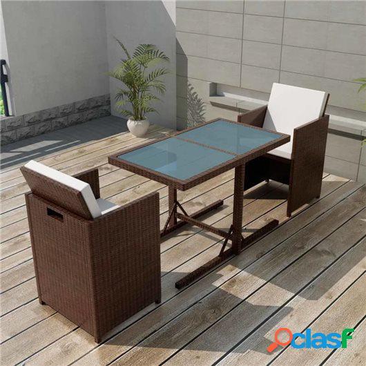 Mesa y sillas bistró jardín 3 pzas y cojines poli ratán