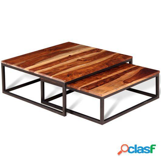 Mesas de centro apilables 2 piezas madera de sheesham maciza