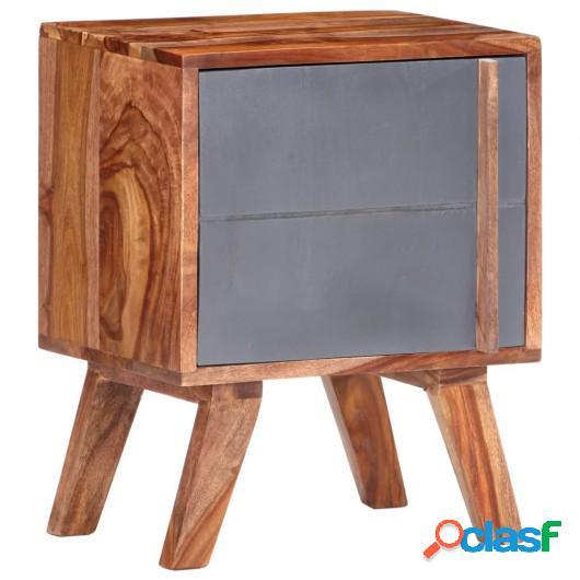 Mesita de noche de madera maciza de sheesham gris 40x30x50