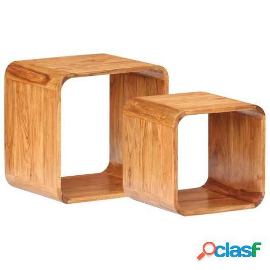 Mesitas auxiliares 2 piezas madera de acacia acabado