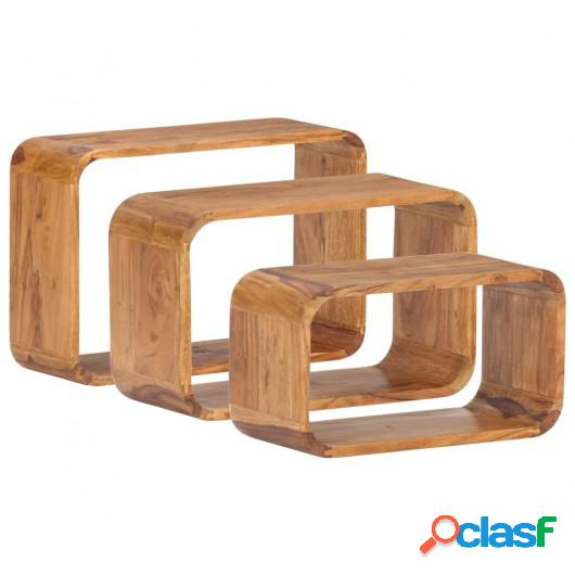 Mesitas auxiliares 3 piezas madera de acacia acabado