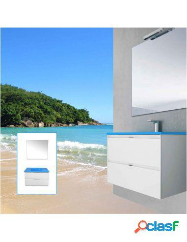Mueble De Baño Mizar Con Lavabo Azul Mediterraneo Y Espejo