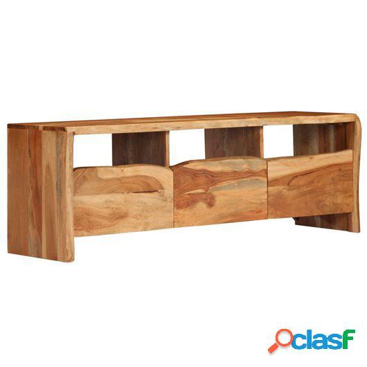 Mueble de TV madera acacia maciza borde irregular 120x35x40