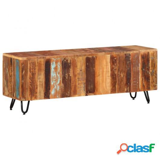 Mueble de TV madera maciza reciclada 110x30x40 cm