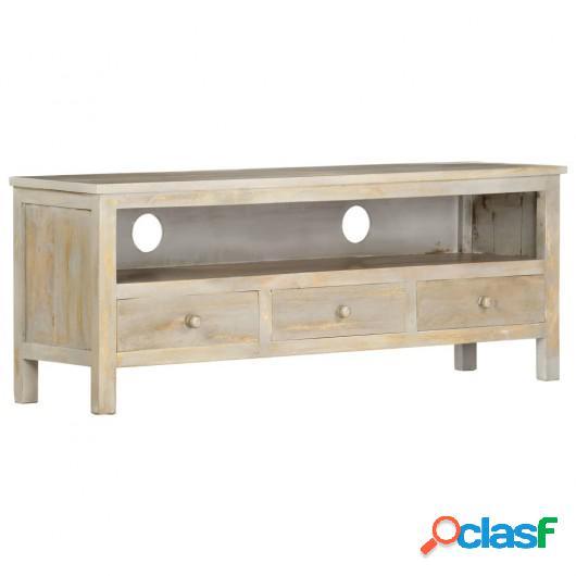 Mueble para TV de madera maciza de mango gris 120x30x45 cm