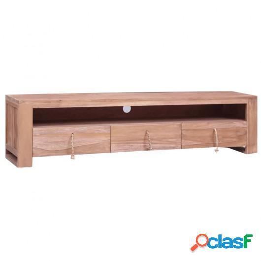 Mueble para TV de madera maciza de teca 140x30x35 cm