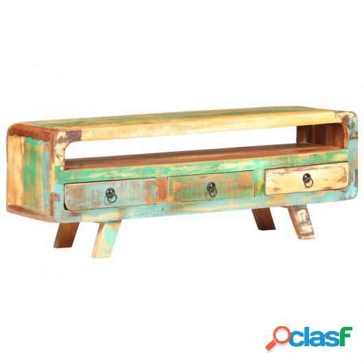 Mueble para TV de madera maciza reciclada 117x30x41 cm