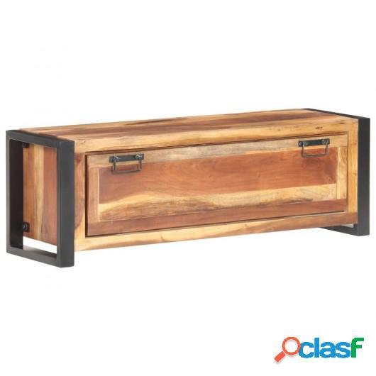 Mueble zapatero de madera maciza acabado sheesham 120x35x40