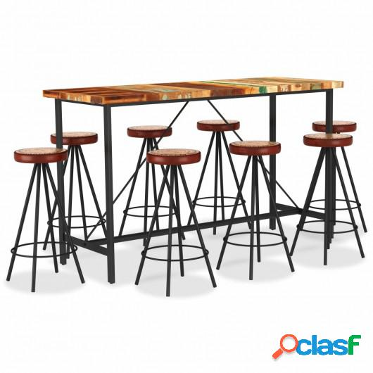 Muebles de bar 9 pzas madera maciza reciclada cuero real