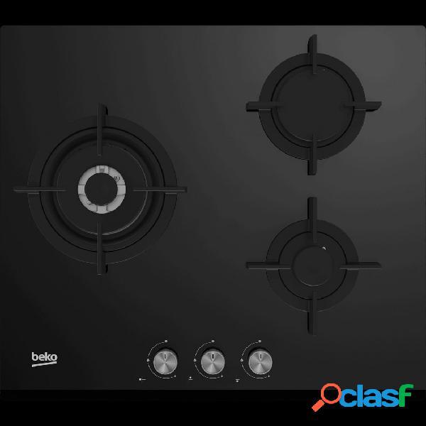 Placa Gas - Beko HISW63222SO 3 Zonas 60 cm Negro Sin Marco