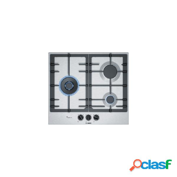 Placa Gas - Bosch PCC6A5B90 3 Zonas 60 cm Acero Inoxidable