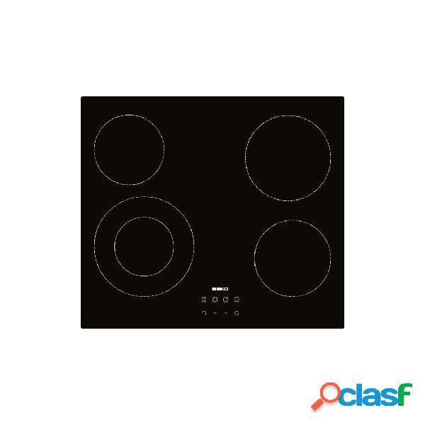 Placa Vitrocerámica - Beko HIC64402 4 Zonas 60 cm Negro Sin