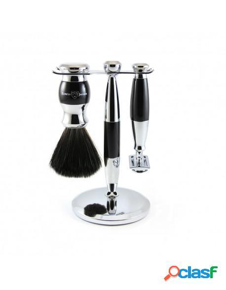Set Clasic Razor, Shaving Brush Synthetic Fibre and Stand