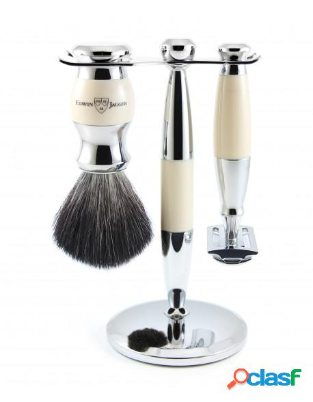 Set Safety razor, shaving brush synthetic fibre and stand
