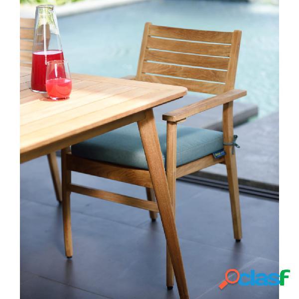 Set de 2 sillas de madera de teca apilables 56x55x85 cm
