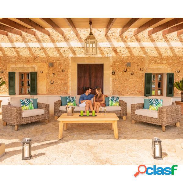 Set de sofás de ratán Bahamas Lifestyle de 3 plazas con 2