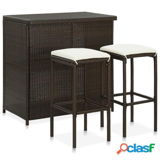 Set mesa y sillas de bar jardín 3 piezas ratán sintético