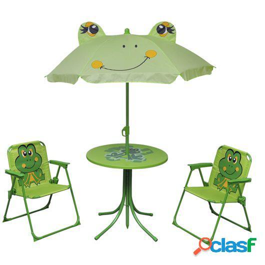 Set mesa y sillas de jardín infantil 3 pzas con sombrilla