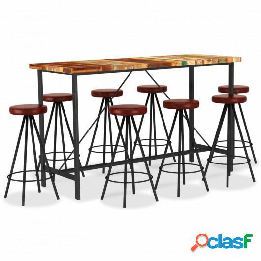 Set muebles de bar 9 piezas madera reciclada y cuero