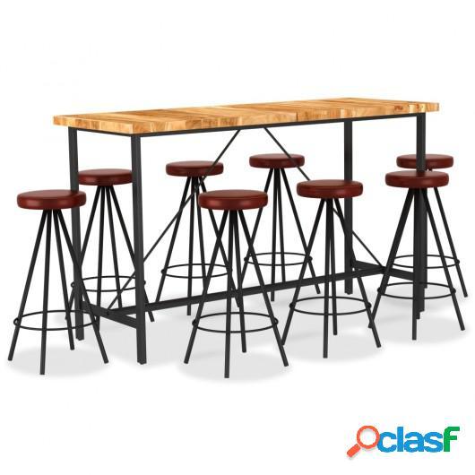 Set muebles de bar 9 pzas madera maciza acacia cuero