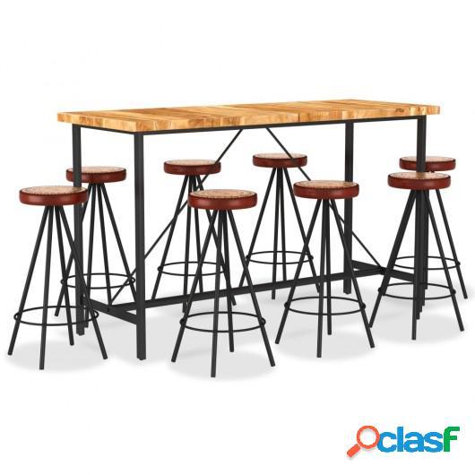 Set muebles de bar 9 pzas madera maciza acacia cuero real