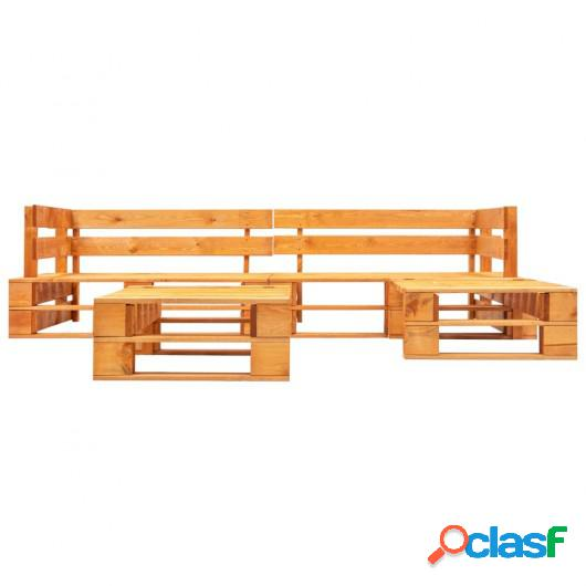 Set muebles de palés de jardín 4 pzas madera FSC marrón