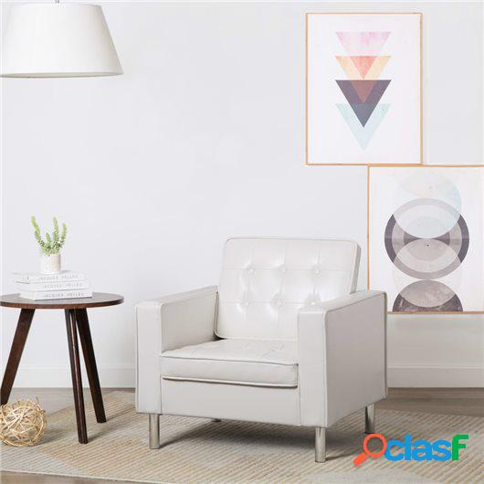 Sillón tapizado de piel sintética 75x70x75 cm blanco