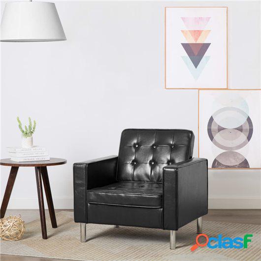 Sillón tapizado de piel sintética negra 75x70x75 cm