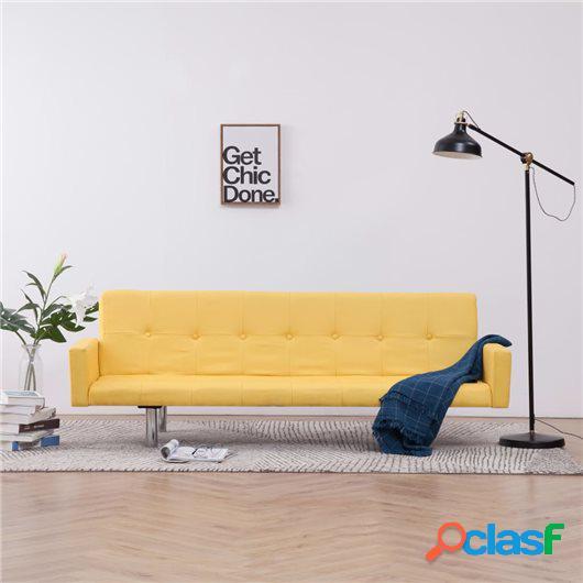 Sofá cama con reposabrazos de poliéster amarillo