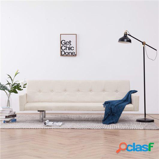Sofá cama con reposabrazos de poliéster color crema