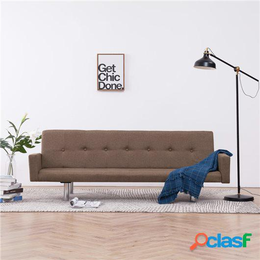 Sofá cama con reposabrazos de poliéster marrón