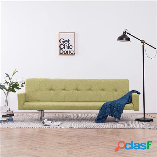 Sofá cama con reposabrazos de poliéster verde