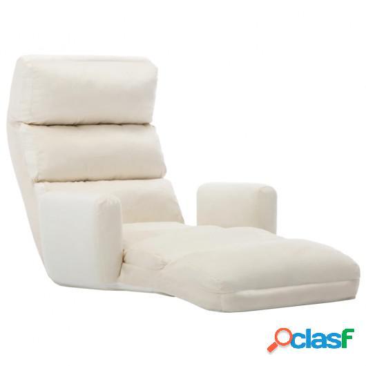 Sofá cama de suelo con reposabrazos tela color crema
