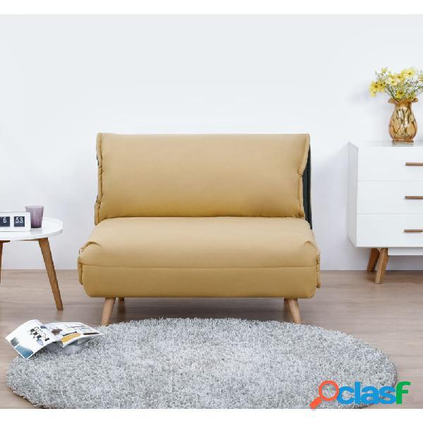 Sofá cama individual mostaza