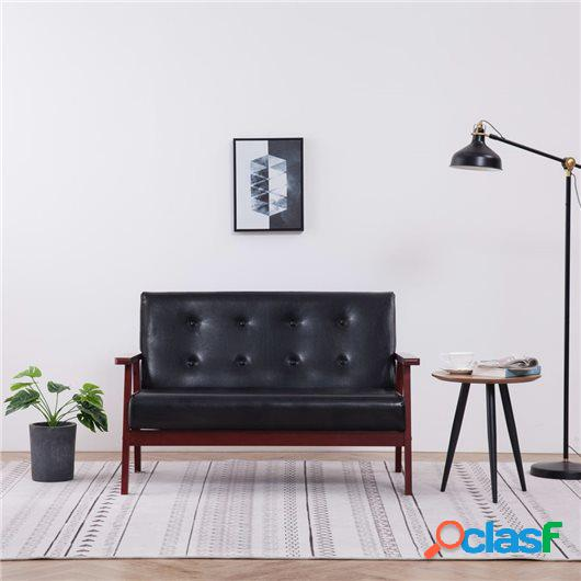 Sofá de 2 plazas cuero sintético negro