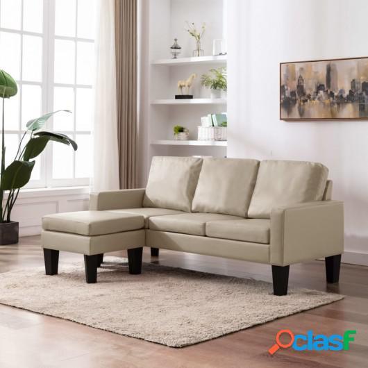 Sofá de 3 plazas con reposapiés cuero sintético color