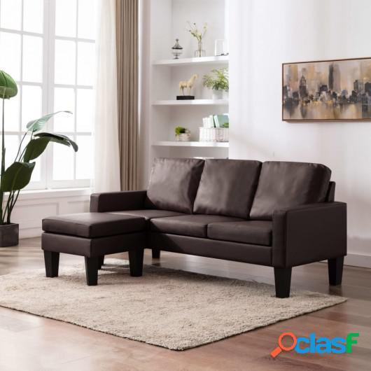 Sofá de 3 plazas con reposapiés cuero sintético marrón