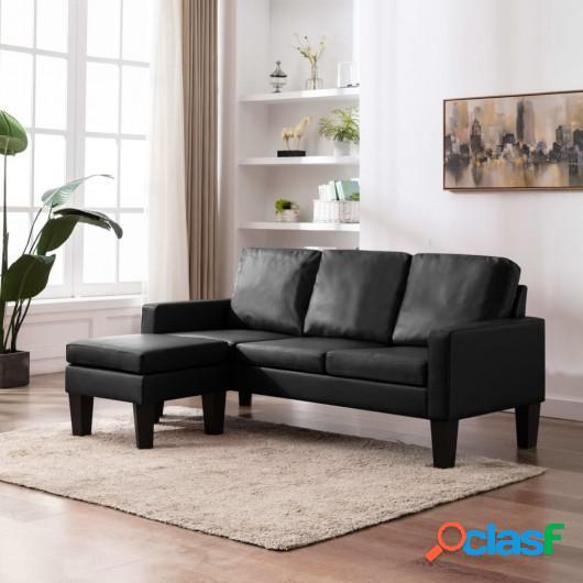 Sofá de 3 plazas con reposapiés cuero sintético negro
