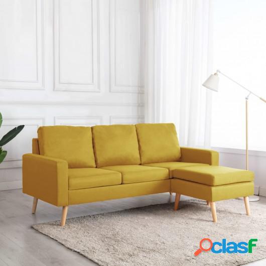 Sofá de 3 plazas con reposapiés de tela amarillo