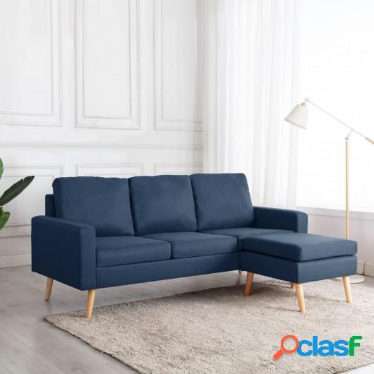 Sofá de 3 plazas con reposapiés de tela azul